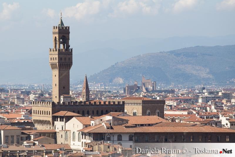 Blick auf das Zentrum von Florenz mit dem Palazzo Vecchio und seinem Turm