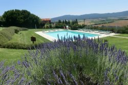 Swimming pool with view over the countryside and the Chianti hills