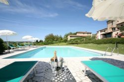Huge swimming pool with panoramic view Chianti Tuscany