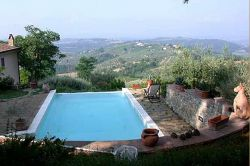 Panorama swimming pool with view over the Elsa Valley and S. Gimignano